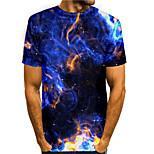 abordables -Homme T-shirt Impression 3D Graphique 3D 3D Imprimé Manches Courtes Quotidien Hauts basique Simple Bleu