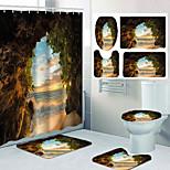 economico -set di quattro pezzi di toilette per il tempo libero con tenda da doccia nell'oceano fuori dalla grotta