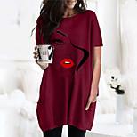 economico -Per donna Vestito a T shirt Pop art Ritratto Rotonda Top Essenziale Top basic Nero Vino Verde militare