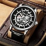 economico -orologio da uomo meccanico casual con cinturino in acciaio con fibbia cava