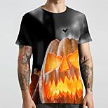abordables -Homme Unisexe Tee T-shirt 3D effet Imprimés Photos Potiron Grandes Tailles Imprimé Manches Courtes Décontracté Hauts basique Designer Grand et grand Arc-en-ciel