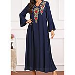 economico -Per donna Vestito a caftano Vestito maxi Blu Manica lunga Con stampe Con ricami Estate Rotonda Casuale 2021 M L XL XXL