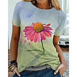 economico -Per donna Floreale Margherita Pittura maglietta Fantasia floreale Pop art Con stampe Rotonda Essenziale Top Verde