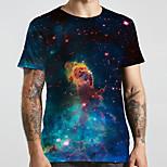 abordables -Homme Unisexe Tee T-shirt 3D effet Galaxie Imprimés Photos Grandes Tailles Imprimé Manches Courtes Décontracté Hauts basique Designer Grand et grand Bleu