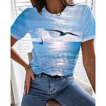 economico -Per donna Per eventi 3D Pittura maglietta Pop art Uccello Con stampe Rotonda Essenziale Stile da spiaggia Top Azzurro