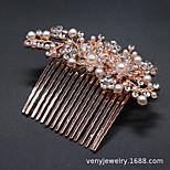 abordables -Usine directe de bijoux de mariée alliage perle strass accessoires de cheveux peigne à cheveux mariage européen et américain accessoires de peigne de mariée