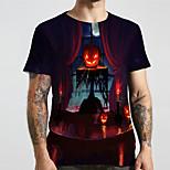 abordables -Homme Unisexe Tee T-shirt 3D effet Imprimés Photos Potiron Grandes Tailles Imprimé Manches Courtes Décontracté Hauts basique Designer Grand et grand Noir