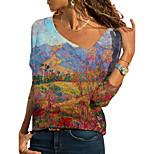 economico -Per donna maglietta Pop art Paesaggi Manica lunga Con stampe A V Top Essenziale Top basic Blu Arcobaleno