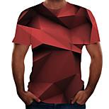 abordables -Homme T-shirt 3D effet 3D Rivet Maille Manches Courtes Décontracté Hauts Blanche Noir Rouge