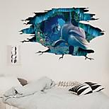 economico -La decorazione domestica del fondo della stanza dei bambini del mondo sottomarino del delfino della parete rotta 3d può essere rimossa