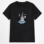 abordables -Homme Tee T-shirt Estampage à chaud Imprimés Photos Astronaute Imprimé Manches Courtes Décontracté Hauts 100% Coton basique Designer Grand et grand Noir