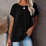 economico -Per donna maglietta Liscio Rotonda Top Roccia Top basic Nero Rosa Vino