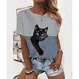 economico -Per donna maglietta Gatto Monocolore 3D Con stampe Rotonda Top Essenziale Top basic Vino Verde Grigio
