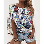 economico -Per donna Pittura maglietta Fantasia floreale Pop art Animali Con stampe Rotonda Essenziale Top Arcobaleno