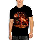 abordables -Homme T-Shirts T-shirt Impression 3D Chien Imprimés Photos Animal Imprimé Manches Courtes Quotidien Hauts Simple Designer Grand et grand Noir