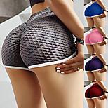 economico -Per donna Vita alta Pantaloncini da yoga Sollevamento del culo arricciato Pantaloncini / Cosciali Fasciante in vita Sollevamento dei glutei Asciugatura rapida Strisce Nero Viola Borgogna Yoga Fitness