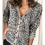 economico -Per donna Alla moda Essenziale Lavorato a maglia Leopardata Cardigan Cotone Manica lunga Maglioni cardigan A V Autunno Primavera Nero
