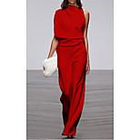 economico -Per donna Tubino Vestito maxi Rosso Senza maniche Tinta unica Collage Autunno Estate Rotonda Elegante Casuale 2021 S M L XL XXL