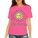 economico -Per donna maglietta Pop art Testo Con stampe Rotonda Top Essenziale Top basic Blu Rosa Verde
