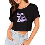 economico -Per donna Maglietta corta Drago Pop art Con stampe Rotonda Top 100% cotone Essenziale Top basic Bianco Nero / Corto