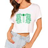 economico -Per donna Maglietta corta Drago Pop art Con stampe Rotonda Top 100% cotone Essenziale Top basic Bianco / Corto