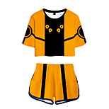 abordables -Inspiré par Naruto Naruto Uzumaki Costume de Cosplay Tenue Térylène Bloc de Couleur 2 Pièces Imprimé Short Pour Femme / Homme