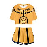 abordables -Inspiré par Naruto Naruto Uzumaki Costume de Cosplay Tenue Térylène Imprimés Photos 2 Pièces Imprimé Short Pour Femme / Homme