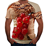 abordables -Homme T-shirt Chemise 3D effet 3D Rivet Maille Manches Courtes Décontracté Hauts Violet Rouge Rose Claire / Eté