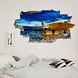 economico -La decorazione del corridoio della camera da letto del salone della camera da letto del salone dell'aereo della nuova parete rotta 3d può essere rimossa gli adesivi