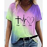 economico -Per donna maglietta Con cuori Monocolore Testo Con stampe A V Top Essenziale Top basic Blu Giallo Verde