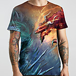 abordables -Homme Unisexe Tee T-shirt 3D effet Dragon Imprimés Photos Animal Grandes Tailles Imprimé Manches Courtes Décontracté Hauts basique Designer Grand et grand Bleu