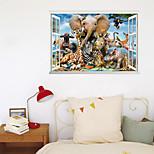 economico -3d finta finestra nuovo muro incolla elefante mondo animale parco casa corridoio sfondo decorazione può essere rimosso adesivi