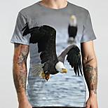 abordables -Homme Unisexe Tee T-shirt 3D effet Imprimés Photos Aigle Animal Grandes Tailles Imprimé Manches Courtes Décontracté Hauts basique Designer Grand et grand Gris