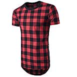 abordables -Homme T-shirt Treillis Manches Courtes Décontracté Hauts Noir Bleu Rouge