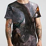 abordables -Homme Unisexe Tee T-shirt 3D effet Dragon Imprimés Photos Animal Grandes Tailles Imprimé Manches Courtes Décontracté Hauts basique Designer Grand et grand Gris