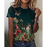 economico -Per donna Floreale Farfalla Pittura maglietta Fantasia floreale Pop art Con stampe Rotonda Essenziale Top Verde