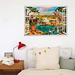 economico -3d finta finestra nuovo muro incolla leone elefante mondo animale wateride gioca casa corridoio sfondo decorazione può essere rimosso adesivi