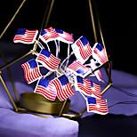 economico -luci a stringa a led stelle e strisce bandiera nazionale per il giorno dell'indipendenza 3m 30 led decorazione di nozze per feste luci a forma di bandiera ornamento per la casa senza batteria