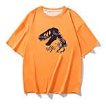 abordables -Homme Tee T-shirt Estampage à chaud Imprimés Photos Dinosaure Animal Imprimé Manches Courtes Décontracté Hauts 100% Coton basique Designer Grand et grand Orange