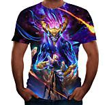 abordables -Homme T-shirt 3D effet 3D Rivet Maille Manches Courtes Décontracté Hauts Violet Jaune Arc-en-ciel