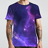 abordables -Homme Unisexe Tee T-shirt 3D effet Galaxie Imprimés Photos Grandes Tailles Imprimé Manches Courtes Décontracté Hauts basique Designer Grand et grand Violet