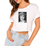 economico -Per donna Maglietta corta Pop art Ritratto Con stampe Rotonda Top 100% cotone Essenziale Top basic Bianco Nero / Corto