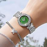 economico -orologio al quarzo squisito di modo della vigilanza del diamante della piccola vigilanza verde stellata della dea