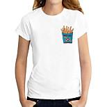 economico -Per donna maglietta Cartoni animati Pop art Con stampe Rotonda Top 100% cotone Essenziale Top basic Bianco