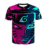 abordables -Inspiré par Naruto Naruto Uzumaki Costume de Cosplay Manches Ajustées Térylène 3D Imprimé Tee-shirt Pour Femme / Homme