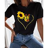 economico -Per donna Per uscire Farfalla Faretto multicolore maglietta Fantasia floreale Farfalla Con cuori Con stampe Rotonda Essenziale Top Bianco Nero
