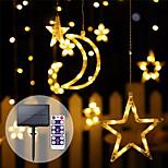 economico -luce a led per esterni a energia solare con telecomando a forma di stella lunare illuminazione decorativa impermeabile ha condotto le luci stringa flessibile per il patio cortile del prato ghirlanda