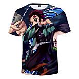 abordables -Inspiré par Tueur de démons Kamado Tanjirou Costume de Cosplay Manches Ajustées Térylène Graphique Imprimé Tee-shirt Pour Femme / Homme