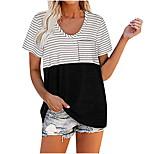 economico -Per donna maglietta A strisce Con stampe Stondata Top Essenziale Top basic Nero Rosso Verde
