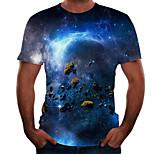 abordables -Homme T-shirt 3D effet 3D Rivet Maille Manches Courtes Décontracté Hauts Blanche Bleu Arc-en-ciel
